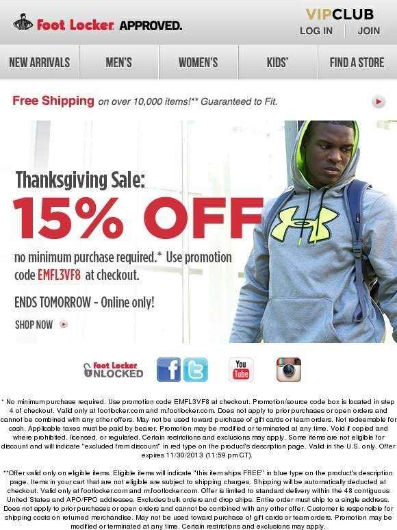 Footlocker Black Friday Sale. Get an Extra 20% Off $99+ Order with coupon FRIDAYEnds 11/ Shipping is free with $75+ order with coupon FFFSHPExclusions may apply. ad/5(7).