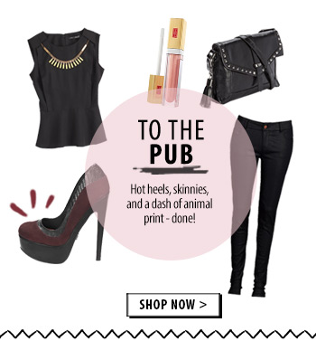 To the pub - hot heels and skinnies. Done!