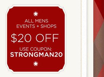All Mens Events + Shops