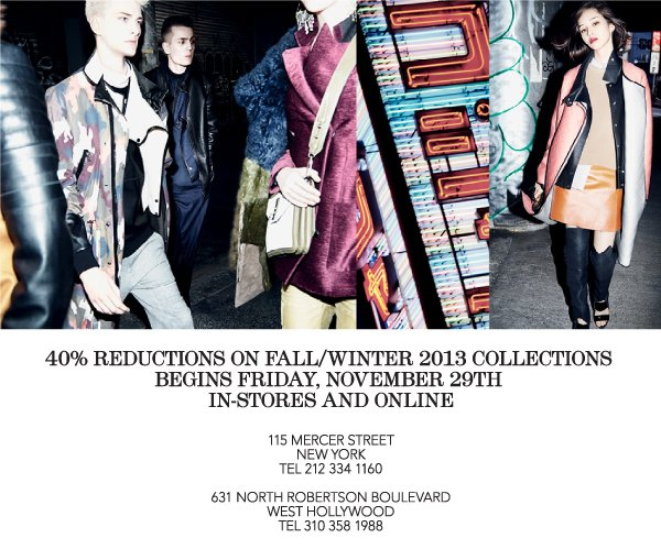 40% Reductions on Fall/Winter 2013 Collections In-Stores and Online