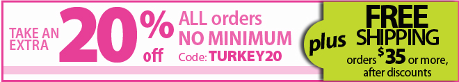 Save 20% off all orders + free shipping on orders of $35 or more with promo code TURKEY20
