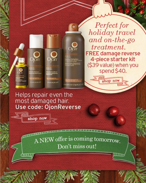 Perfect for holiday travel and on the go treatment Spend 35 dollars  plus get a FREE 4 pc damage reverse starter kit 39 dollars value SHOP  NOW Helps repair even the most damaged hair Use code OjonKit2 SHOP NOW