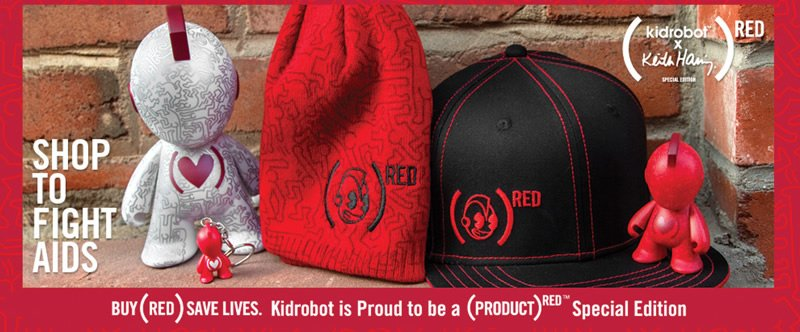 Shop to fight AIDS.  Buy (RED) save lives.  Kidrobot is Proud to be a (PRODUCT) RED Special Edition.