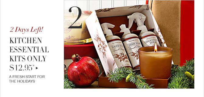 2 - 2 Days Left! - KITCHEN ESSENTIAL KITS ONLY $12.95* - A FRESH START FOR THE HOLIDAYS
