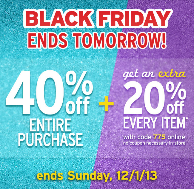 40% + Extra 20% Off Ends Tomorrow