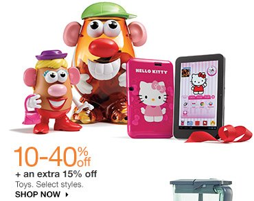 10-40% off + an extra 15% off Toys. Select styles. Shop now.