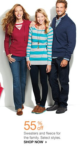 55% off Sweaters and fleece for the family. Select styles. Shop now.