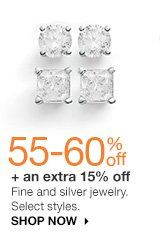 55-60% off + an extra 10% off Fine and silver jewelry. Select styles. Shop now.