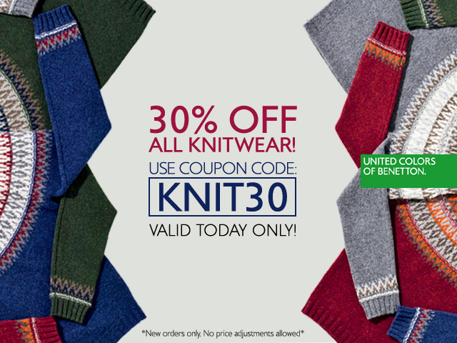 Today only. Save 30% off all knitwear!