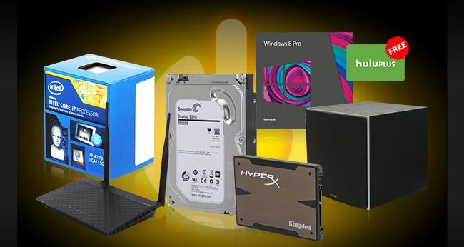 MENU:  Seagate 2TB Solid State Hybrid Drive Intel Core i7-4770 Desktop Processor Kingston 240GB SSD Microsoft Windows 8 Professional Upgrade ASUS Wireless-N300 3-in-1 Router Polk Audio PSW10 10in Powered Subwoofer