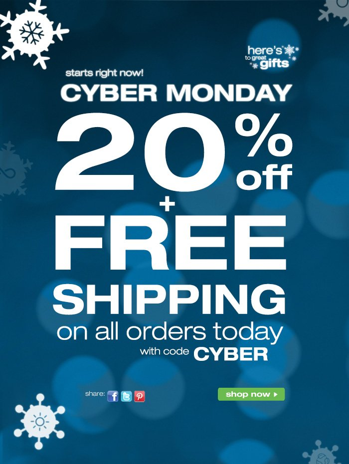 20% OFF + Free Shipping