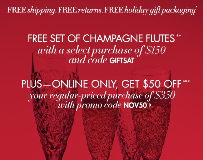 Just Today! Free Champagne  Flutes + $50 OFF