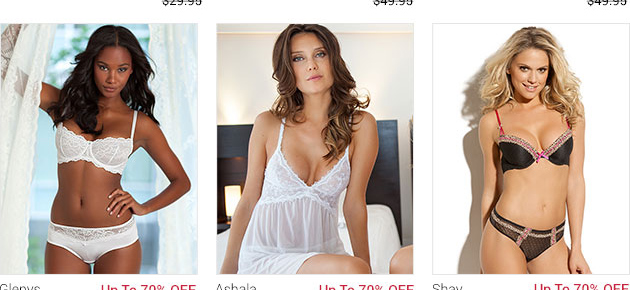 Shop lingerie with up to 70 percent off!