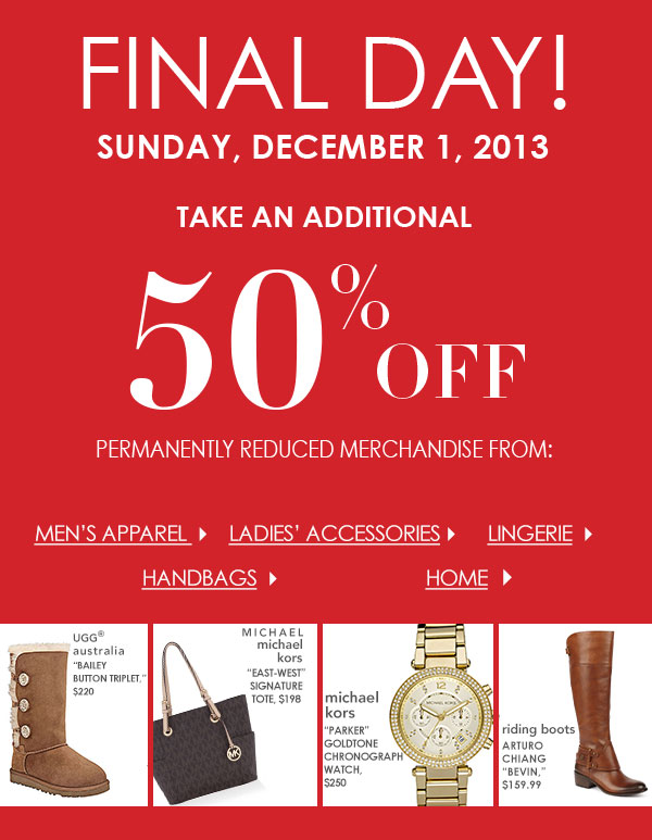 Extra 50 percent off permanently reduced merchandise