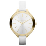Michael Kors MK2273 Womens Slim Runway White Dial White Leather Strap Watch