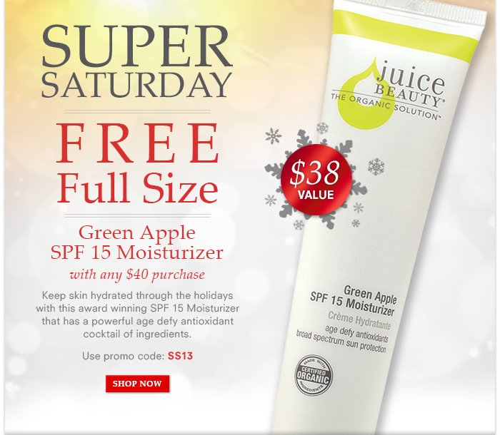 Free Full Size Green Apple SPF 15 Moisturizer ($38 value) with $40 purchase!