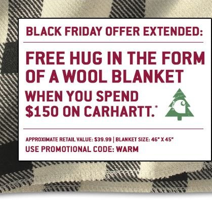 FREE HUG IN THE FORM OF A WOOL BLANKET WITH $150 PURCHASE