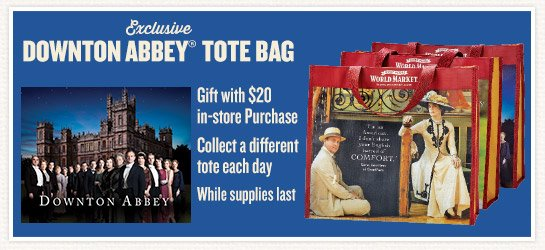 Free Exclusive Downton Abbey Tote Bag with $20 In-Store Purchase