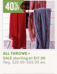 All Throws - 40% off