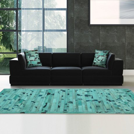 Turquoise Cow Hide Rug // MH257