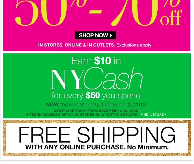 Everything 50%-70% Off! Plus, FREE Shipping!