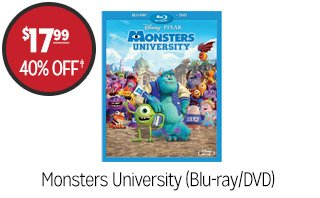 Monsters University (Blu-ray/DVD) - $17.99 - 40% off‡
