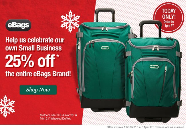 25% Off the entire eBags Brand. Shop Now