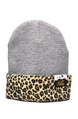 Leopard Patch Beanie in Grey