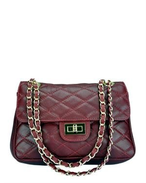 Giulia Genuine Leather Quilted Shoulder Bag Made In Italy