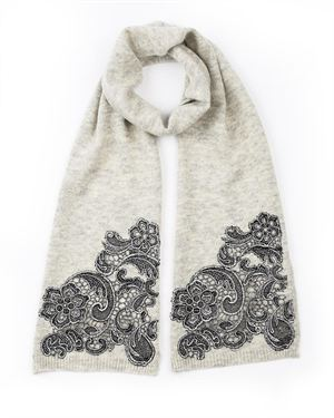 Alice Hannah Lace Applique Embellished Scarf