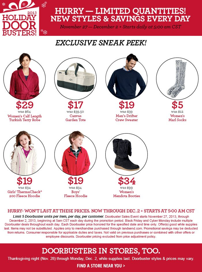HOLIDAY DOORBUSTERS! Hurry - Limited Quantities!