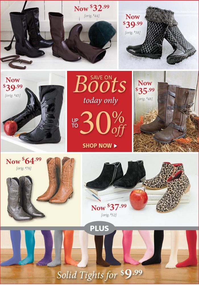 Save on Boots & Tights!