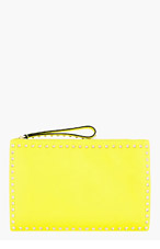 VALENTINO Yellow Leather Rockstud Zip Clutch for women
