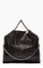 STELLA MCCARTNEY Black Shaggy Deer chain-trimmed Fover Falabella bag for women