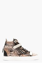 GIUSEPPE ZANOTTI Beige & black Snake London Sneakers for women