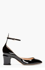 VALENTINO Black Patent ankle strap Mary Janes for women