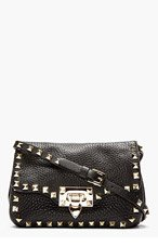 VALENTINO Black Leather Rockstud Shoulder Bag for women