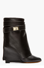 GIVENCHY Black leather Tria Shark lock Wedge Boots for women