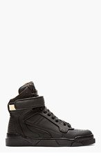 GIVENCHY Black Matte Leather High-Top Tyson Sneakers for women