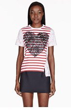 STELLA MCCARTNEY White Stripe & Heart T-Shirt for women