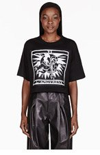 KTZ Black patch Cropped T-Shirt for women