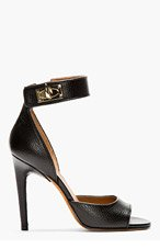 GIVENCHY BLACK TEXTURED LEATHER SHARKLOCK SANDALs for women