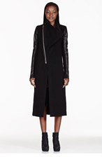 RICK OWENS Black cowl neck coat for women