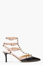 VALENTINO Black & Rose Rockstud strapped heels for women