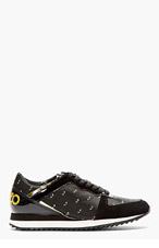 KENZO Black Patent & gold Eye print Sneakers for women