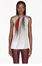 HELMUT LANG White & Grey Draped Abstract Tank Top for women