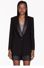 RAG & BONE Black Leather-trimmed Odessa Blazer for women