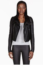 RICK OWENS Black shearling biker jacket for women