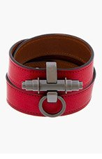 GIVENCHY Red Leather Triple Strap Obesedia Bracelet for women