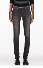 6397 Faded Grey Contrast Waistband Jeans for women